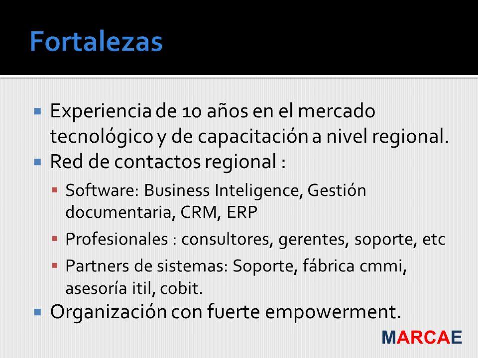 Fortalezas Experiencia de 10 años en el mercado tecnológico y de capacitación a nivel regional. Red de contactos regional :