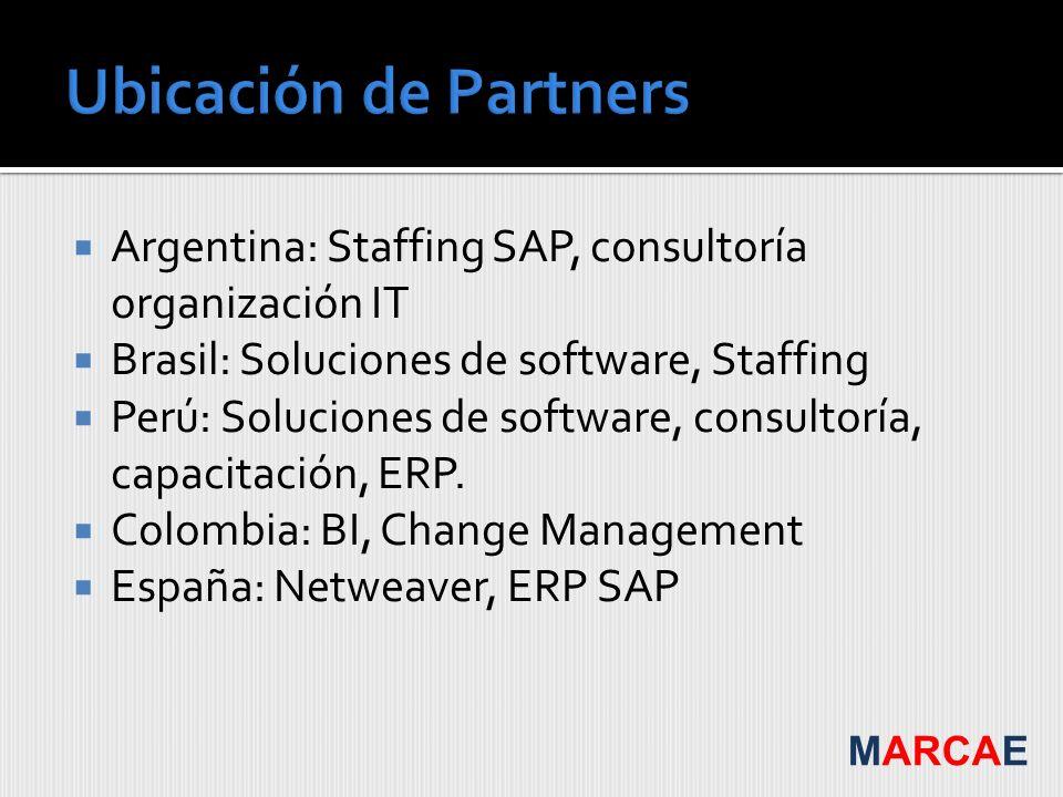 Ubicación de PartnersArgentina: Staffing SAP, consultoría organización IT. Brasil: Soluciones de software, Staffing.