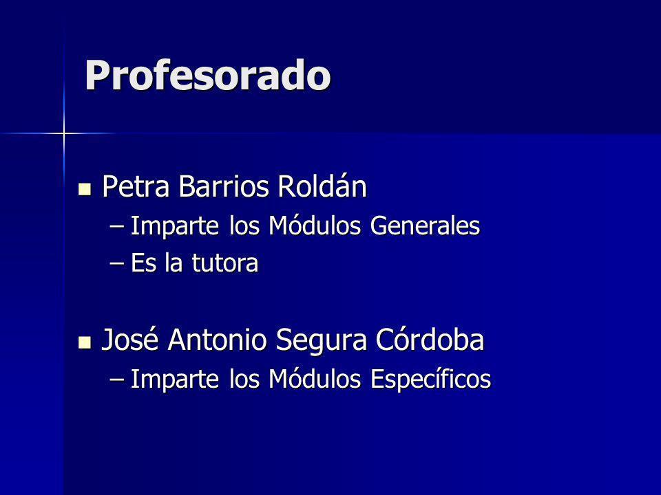 Profesorado Petra Barrios Roldán José Antonio Segura Córdoba