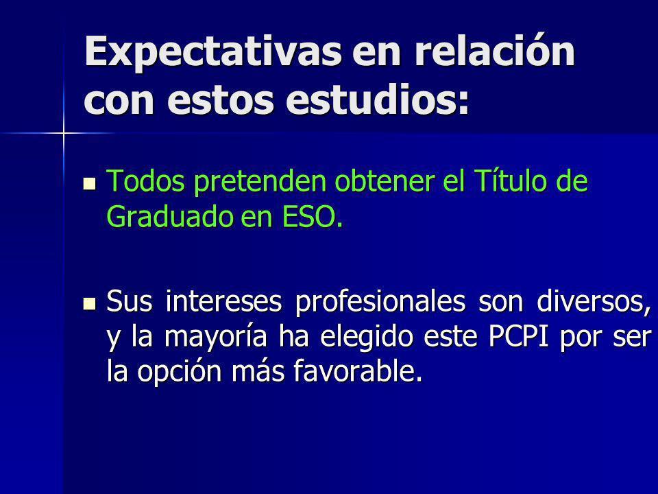 Expectativas en relación con estos estudios: