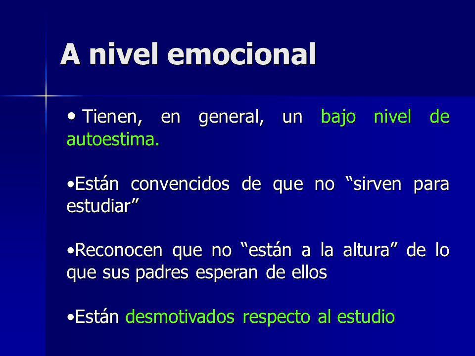 A nivel emocional Tienen, en general, un bajo nivel de autoestima.