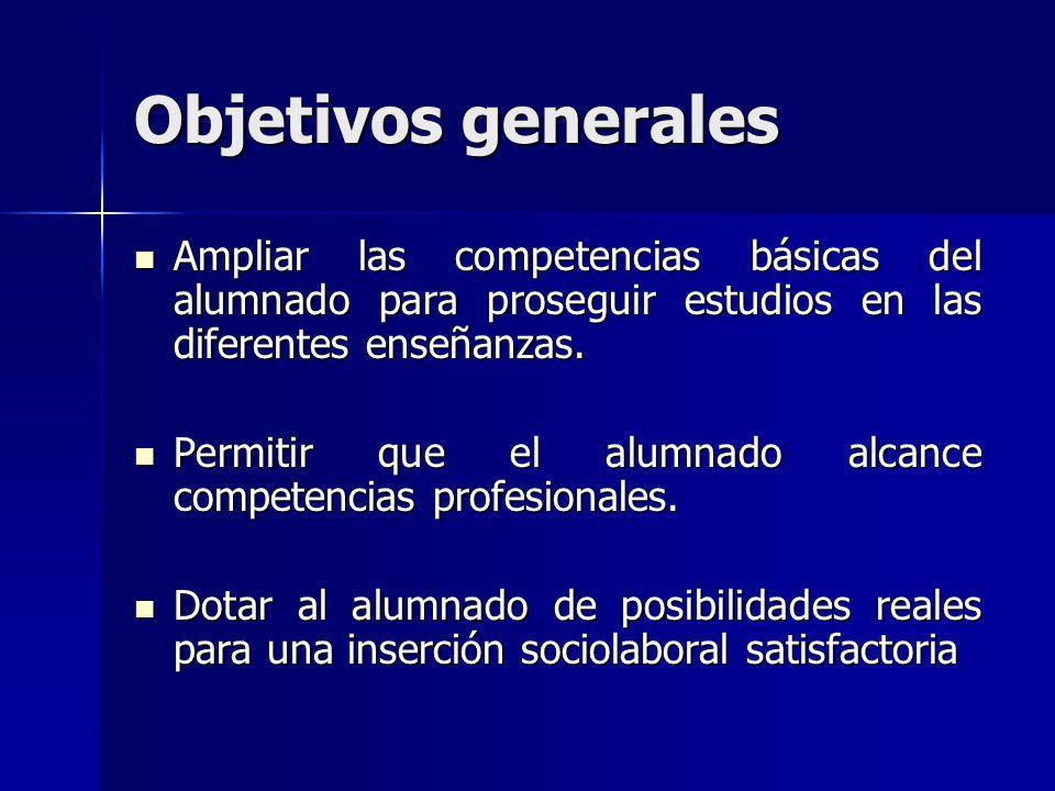 Objetivos generales Ampliar las competencias básicas del alumnado para proseguir estudios en las diferentes enseñanzas.
