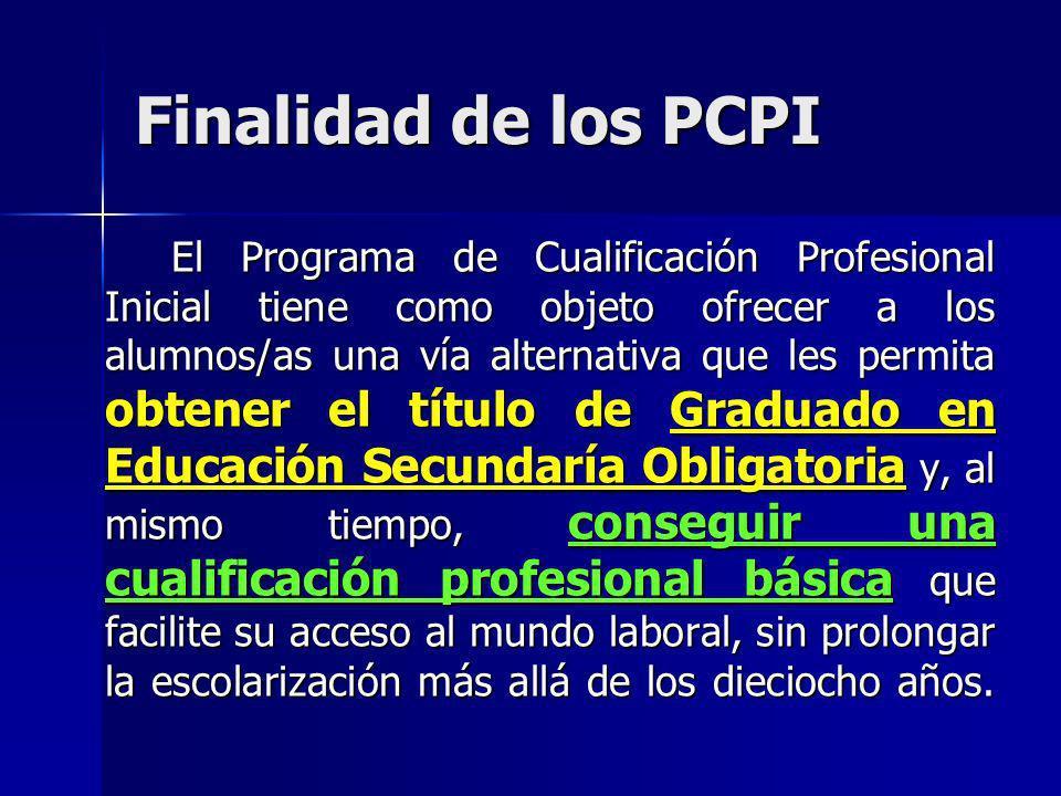 Finalidad de los PCPI
