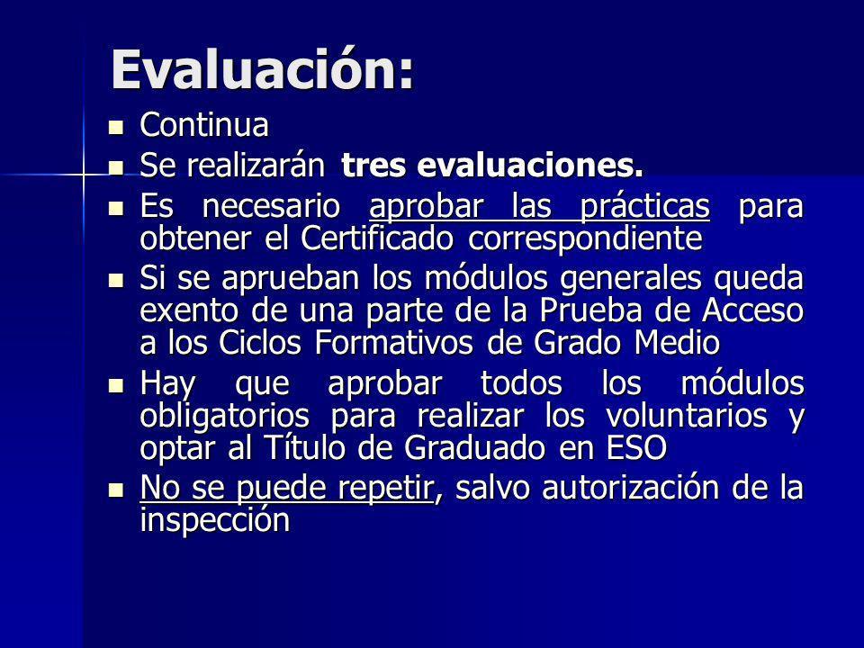 Evaluación: Continua Se realizarán tres evaluaciones.