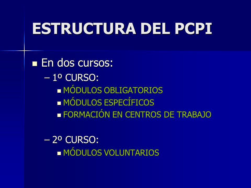 ESTRUCTURA DEL PCPI En dos cursos: 1º CURSO: 2º CURSO: