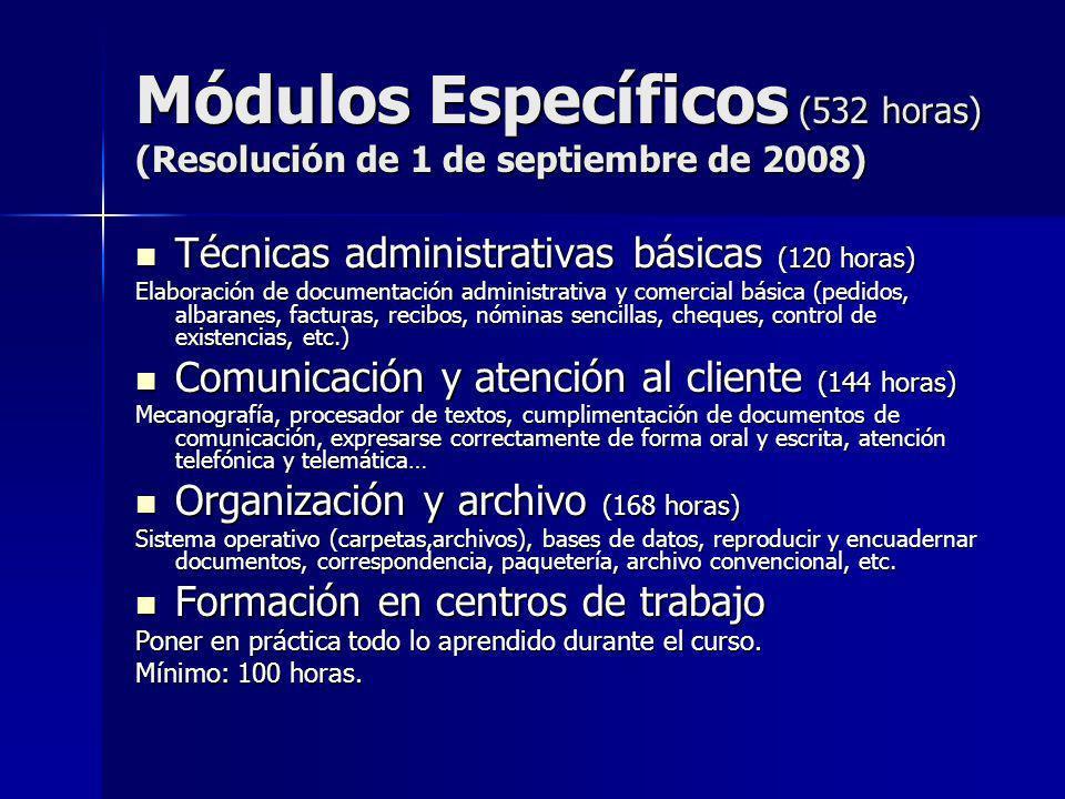 Módulos Específicos (532 horas) (Resolución de 1 de septiembre de 2008)