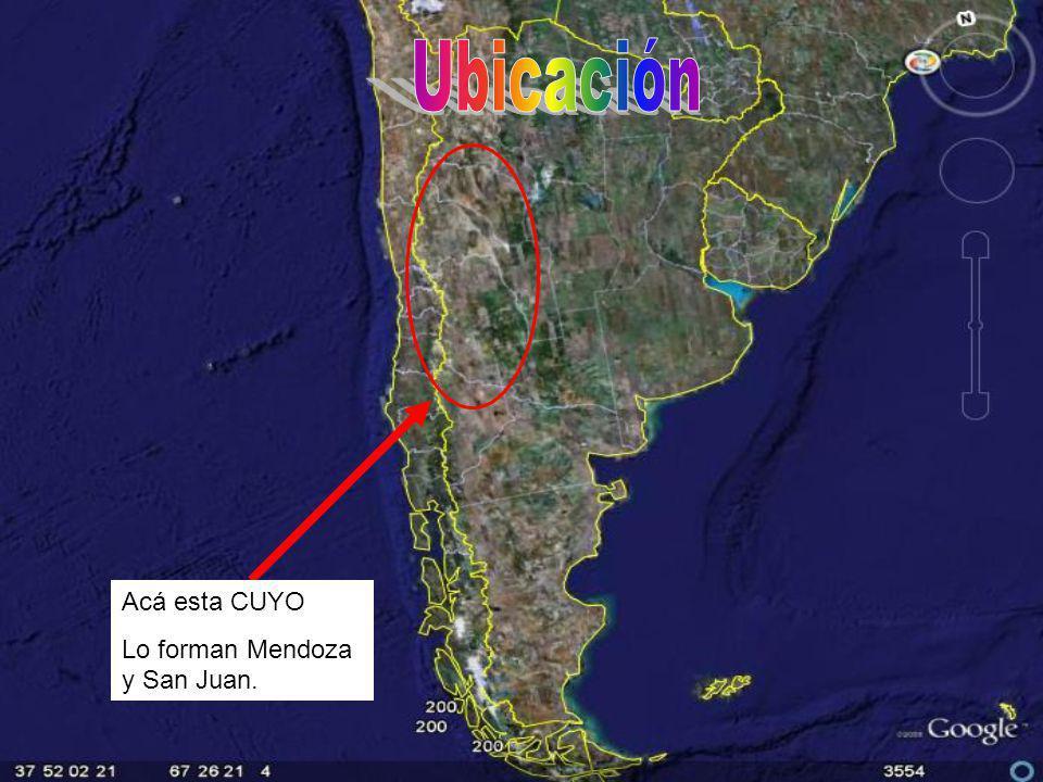 Ubicación Acá esta CUYO Lo forman Mendoza y San Juan.