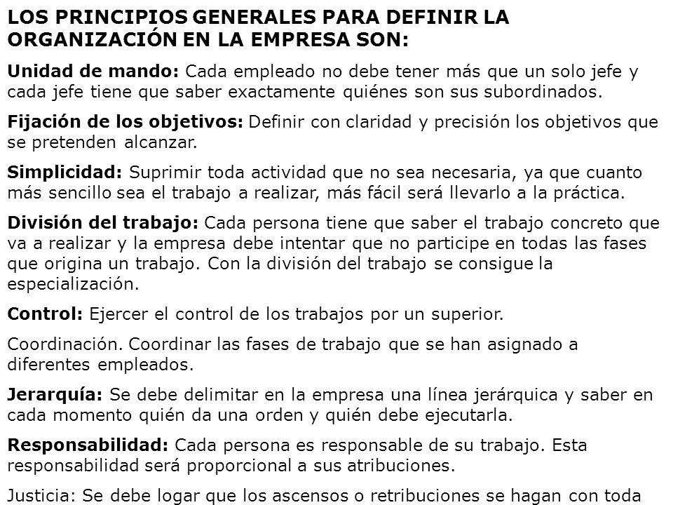 LOS PRINCIPIOS GENERALES PARA DEFINIR LA ORGANIZACIÓN EN LA EMPRESA SON: