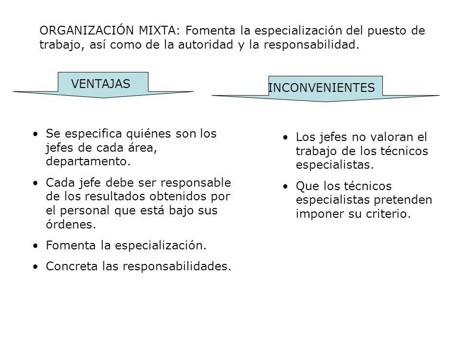 ORGANIZACIÓN MIXTA: Fomenta la especialización del puesto de trabajo, así como de la autoridad y la responsabilidad.