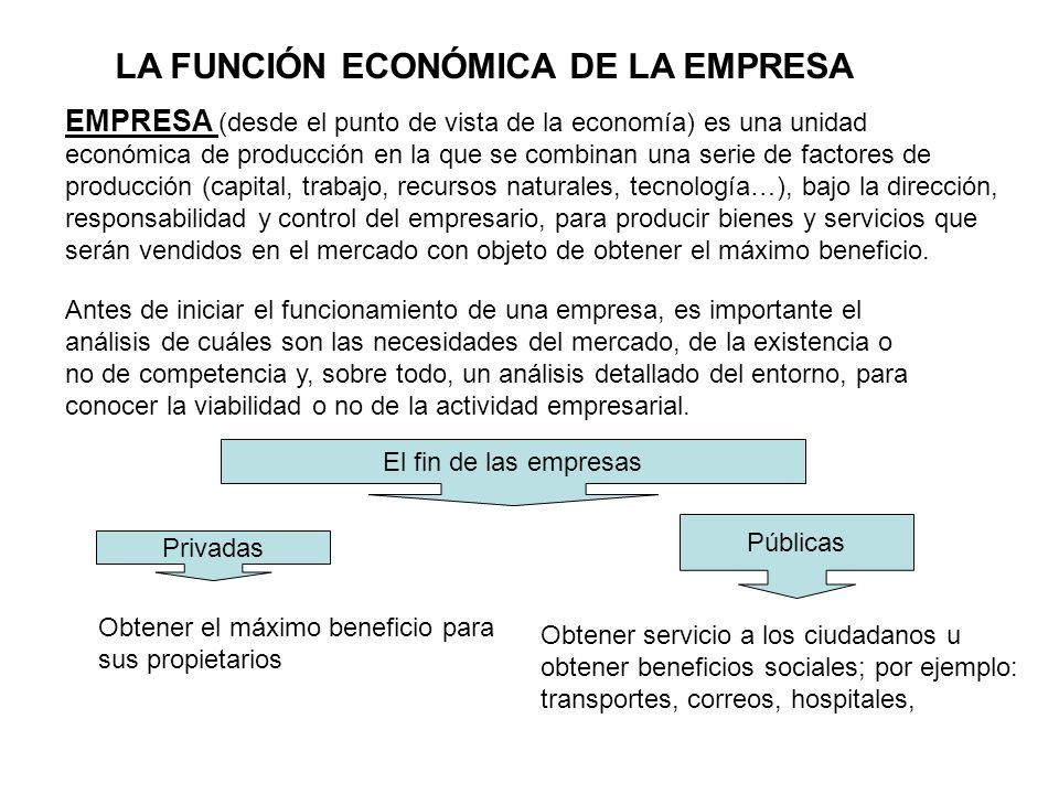 LA FUNCIÓN ECONÓMICA DE LA EMPRESA