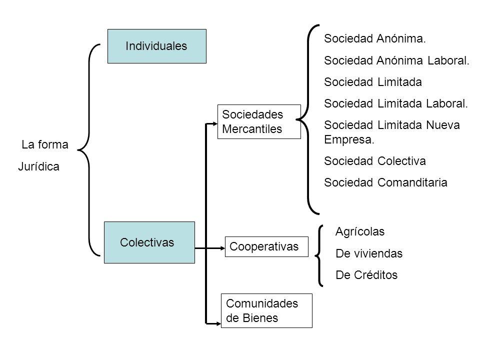 Individuales Sociedad Anónima. Sociedad Anónima Laboral. Sociedad Limitada. Sociedad Limitada Laboral.
