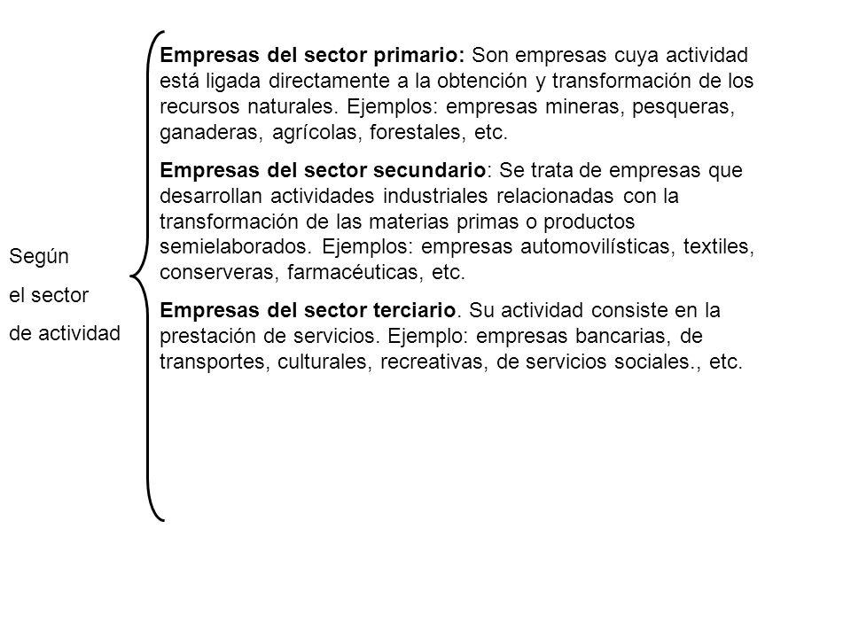 Empresas del sector primario: Son empresas cuya actividad está ligada directamente a la obtención y transformación de los recursos naturales. Ejemplos: empresas mineras, pesqueras, ganaderas, agrícolas, forestales, etc.