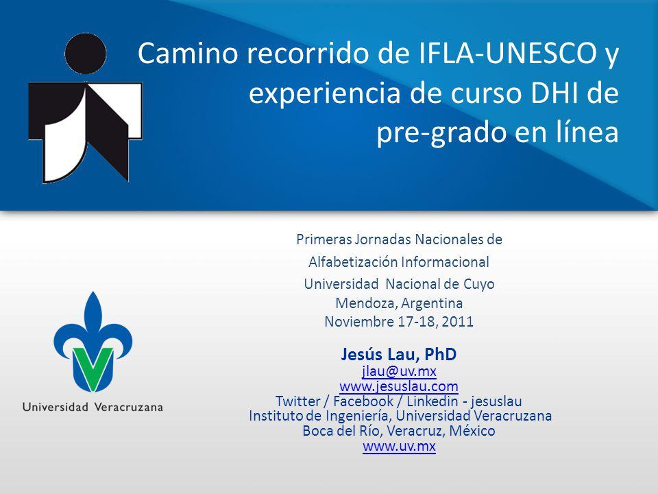 Camino recorrido de IFLA-UNESCO y experiencia de curso DHI de pre-grado en línea