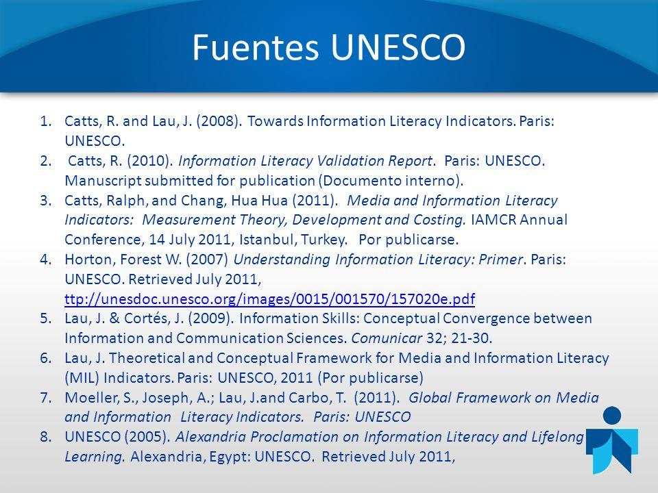 Fuentes UNESCO Catts, R. and Lau, J. (2008). Towards Information Literacy Indicators. Paris: UNESCO.