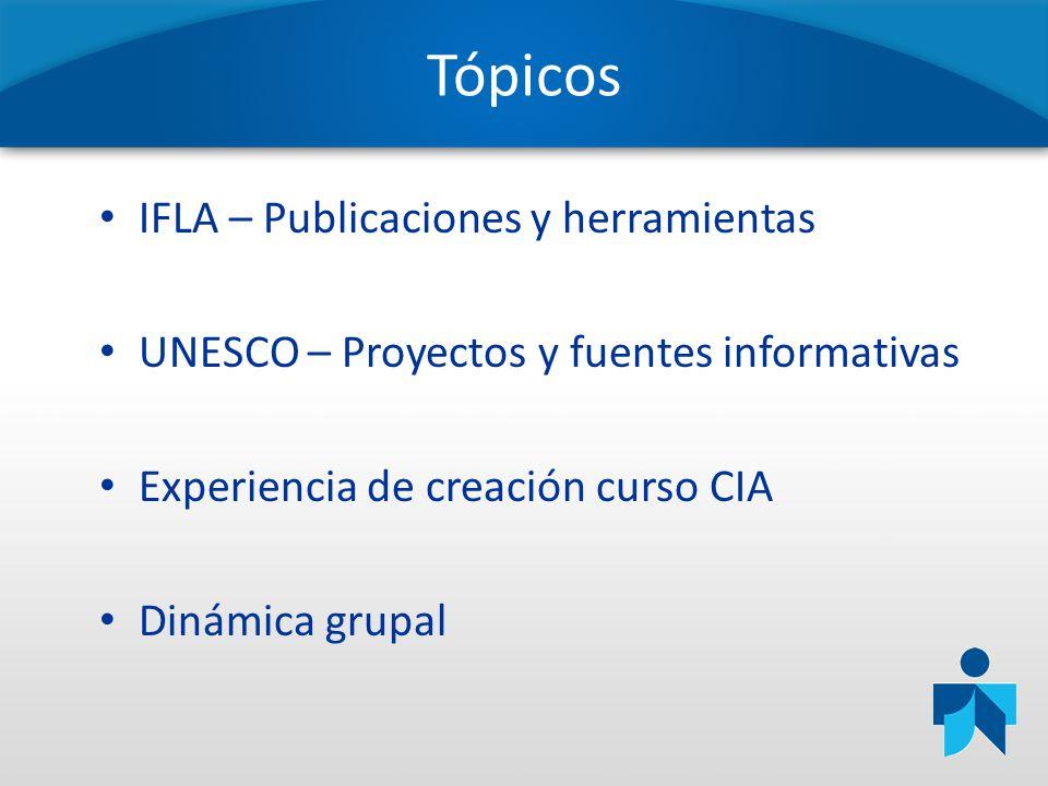 Tópicos IFLA – Publicaciones y herramientas