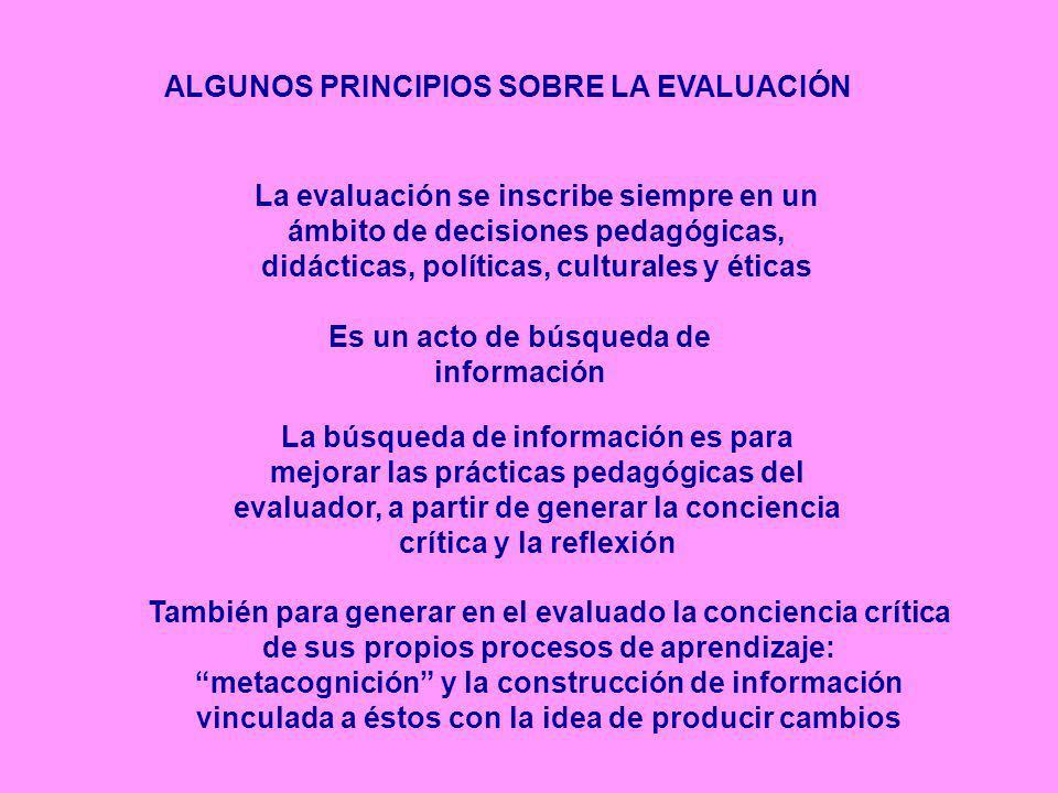 ALGUNOS PRINCIPIOS SOBRE LA EVALUACIÓN