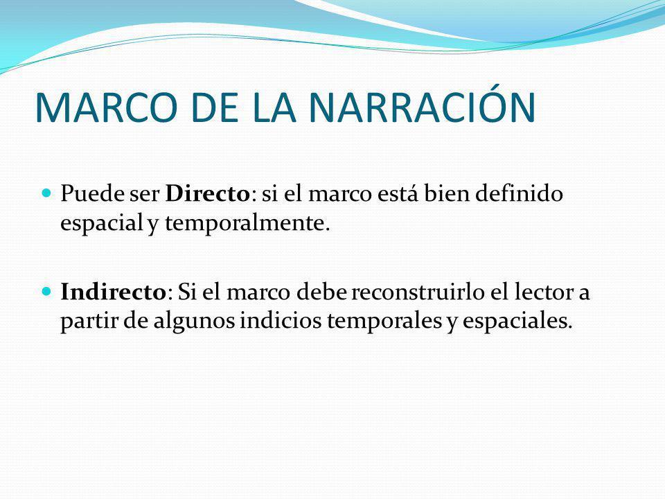MARCO DE LA NARRACIÓN Puede ser Directo: si el marco está bien definido espacial y temporalmente.