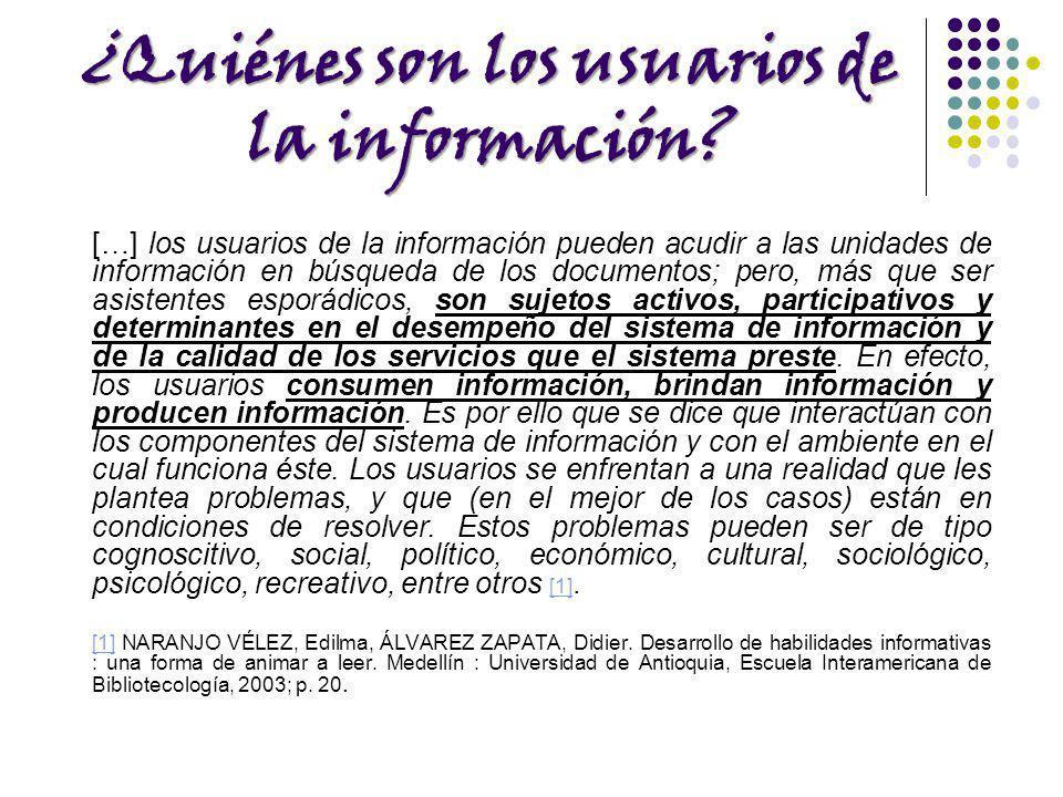 ¿Quiénes son los usuarios de la información