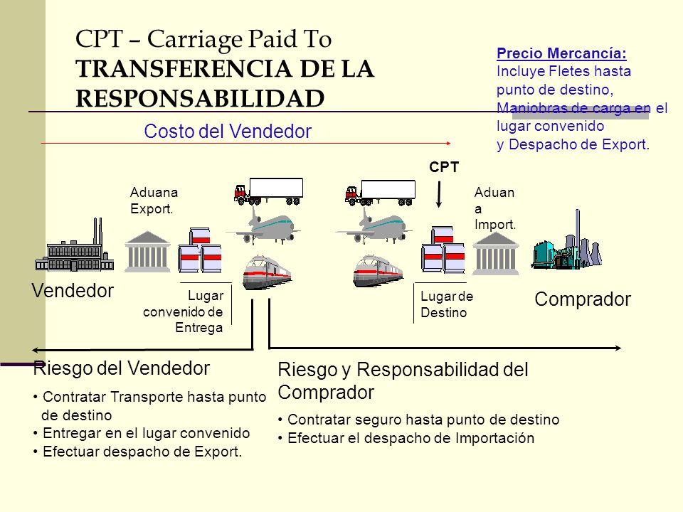 CPT – Carriage Paid To TRANSFERENCIA DE LA RESPONSABILIDAD