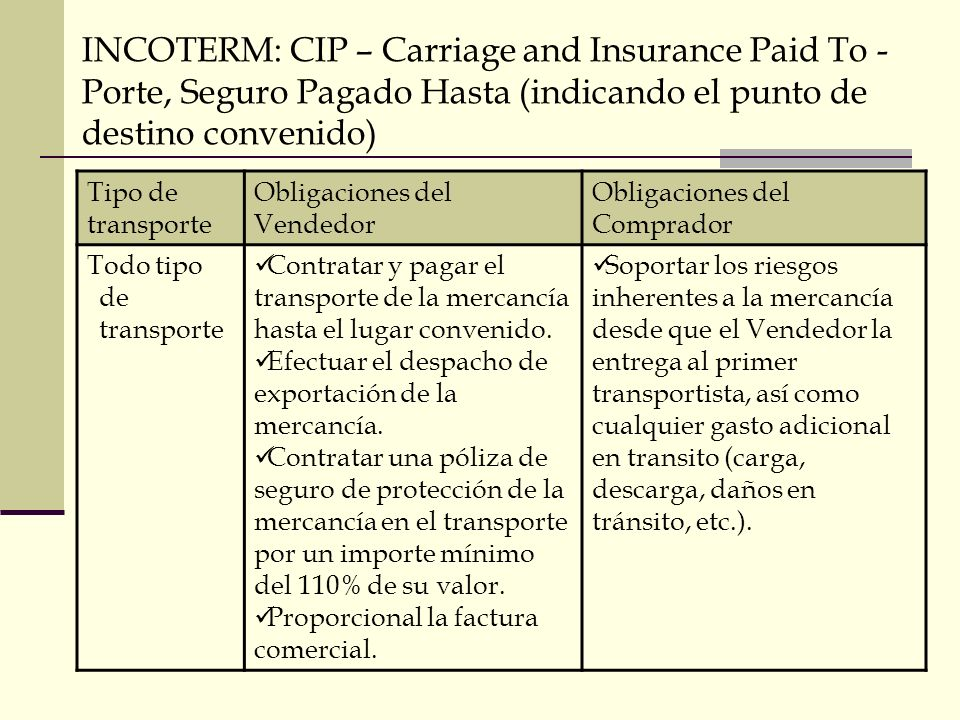 INCOTERM: CIP – Carriage and Insurance Paid To - Porte, Seguro Pagado Hasta (indicando el punto de destino convenido)
