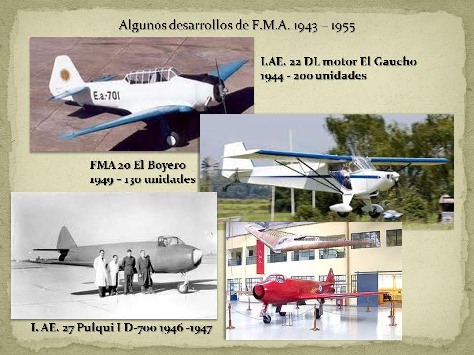 Algunos desarrollos de F.M.A. 1943 – 1955
