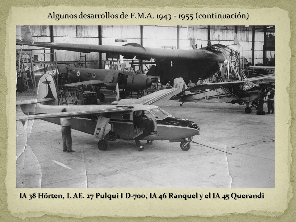 Algunos desarrollos de F.M.A. 1943 - 1955 (continuación)