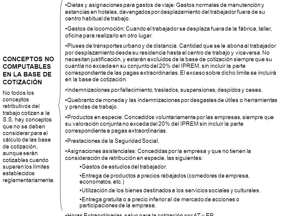 CONCEPTOS NO COMPUTABLES EN LA BASE DE COTIZACIÓN
