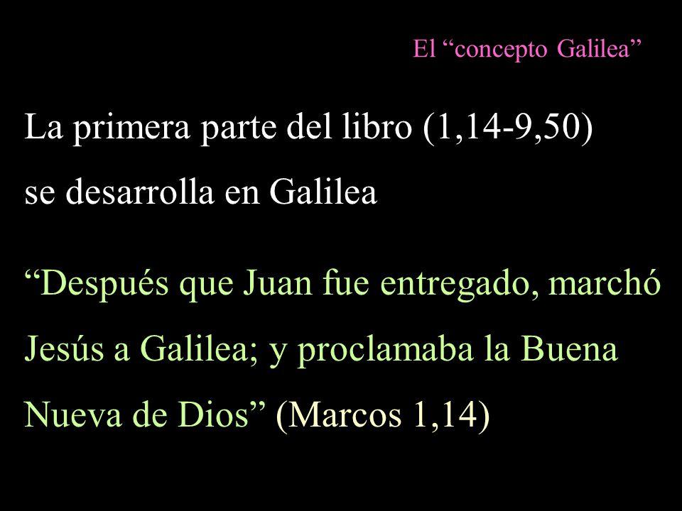 La primera parte del libro (1,14-9,50) se desarrolla en Galilea