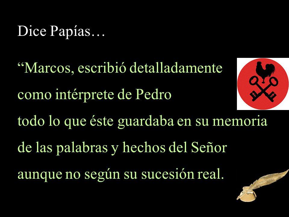 Marcos, escribió detalladamente como intérprete de Pedro
