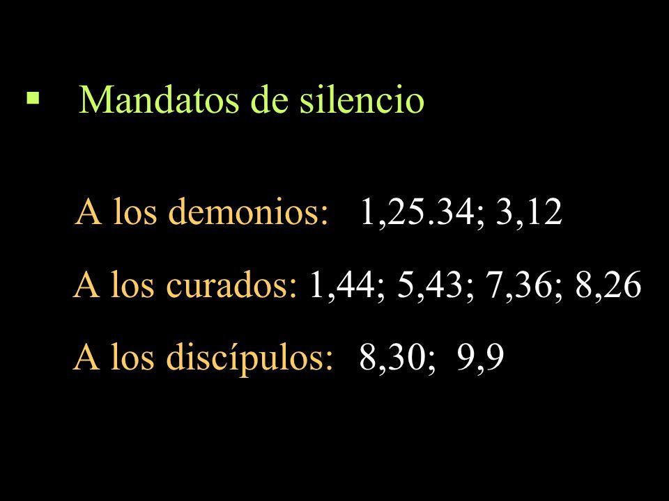 Mandatos de silencio A los demonios: 1,25.34; 3,12