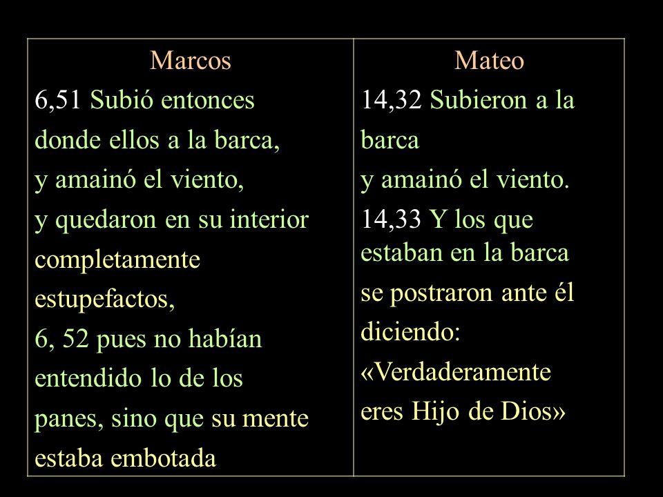 Marcos 6,51 Subió entonces. donde ellos a la barca, y amainó el viento, y quedaron en su interior.