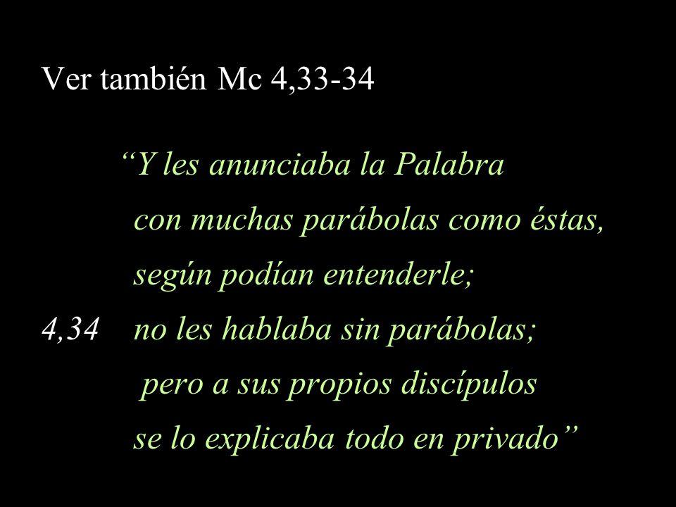 Ver también Mc 4,33-34 Y les anunciaba la Palabra. con muchas parábolas como éstas, según podían entenderle;