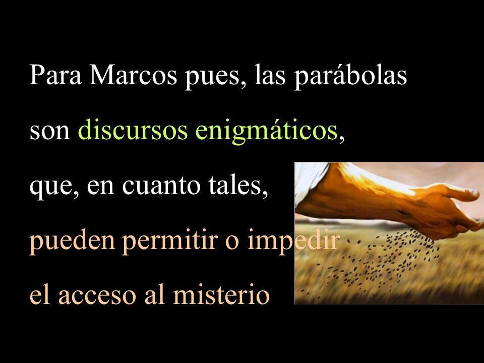 Para Marcos pues, las parábolas son discursos enigmáticos,
