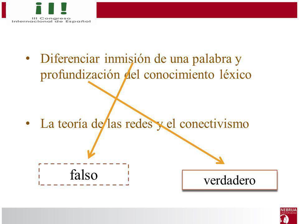 Diferenciar inmisión de una palabra y profundización del conocimiento léxico