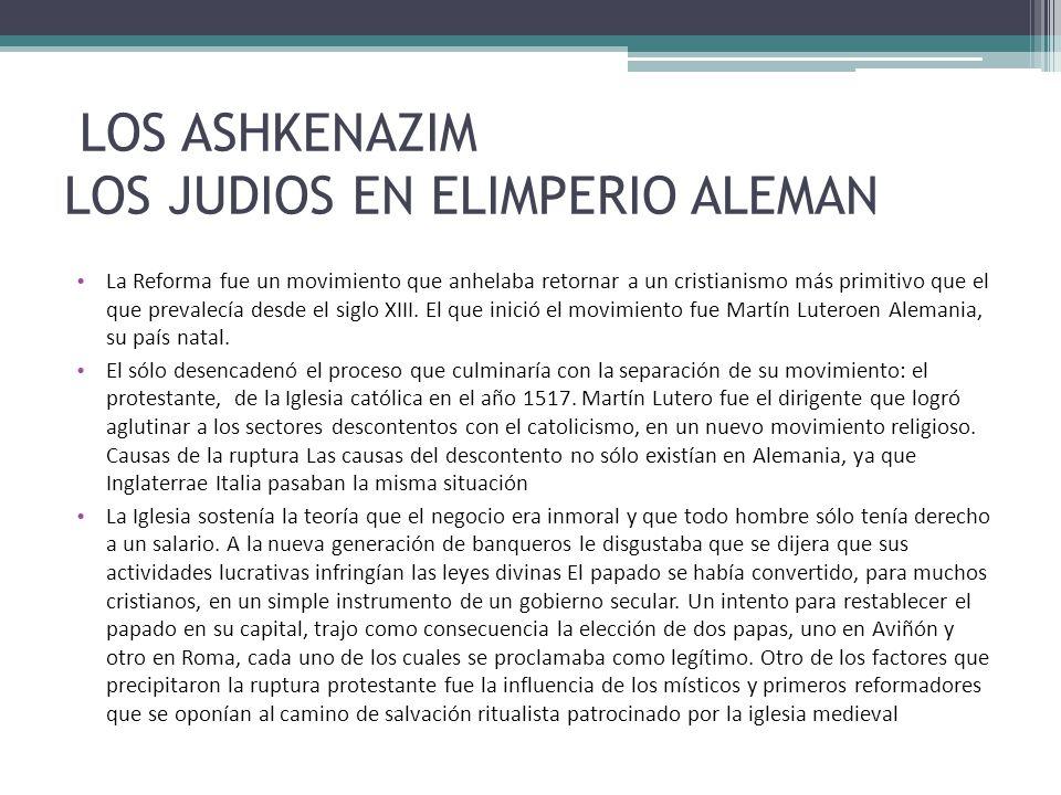 LOS ASHKENAZIM LOS JUDIOS EN ELIMPERIO ALEMAN