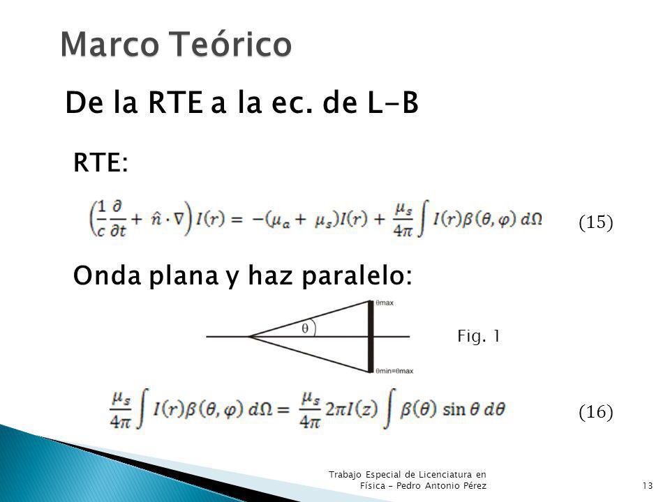 Marco Teórico De la RTE a la ec. de L-B RTE: