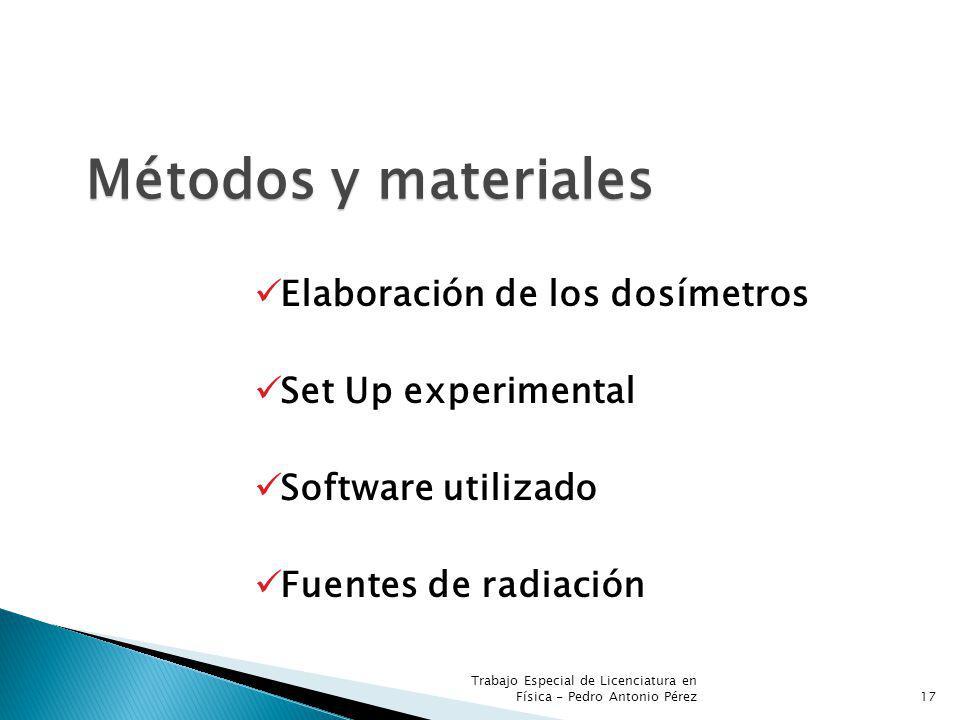 Métodos y materiales Elaboración de los dosímetros Set Up experimental