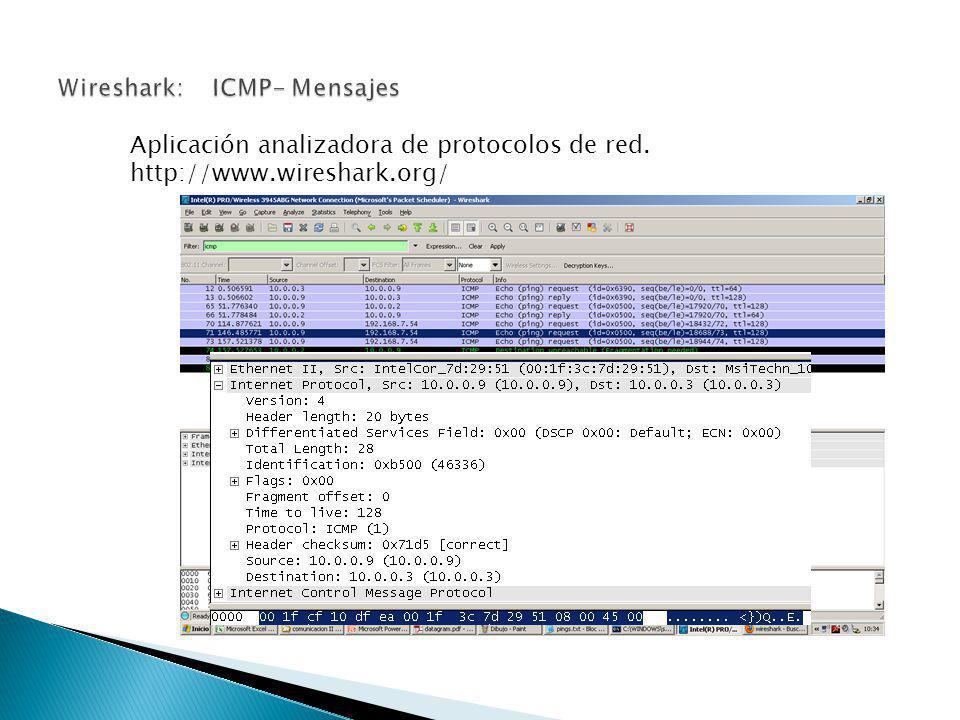Wireshark: ICMP- Mensajes