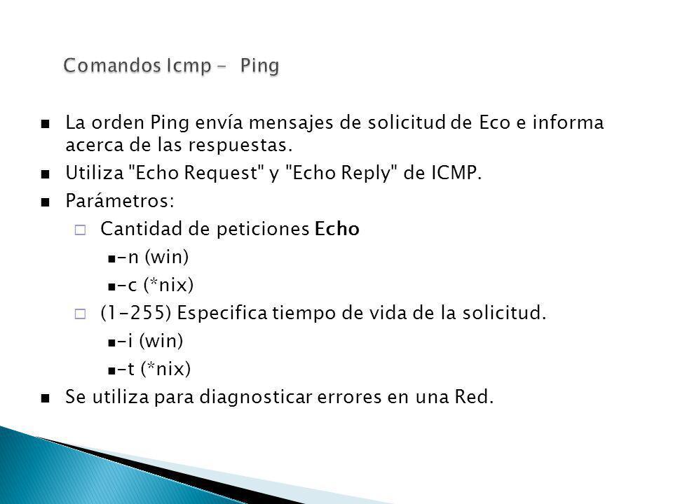Comandos Icmp - Ping La orden Ping envía mensajes de solicitud de Eco e informa acerca de las respuestas.