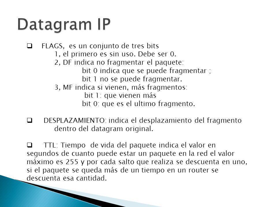 Datagram IP FLAGS, es un conjunto de tres bits