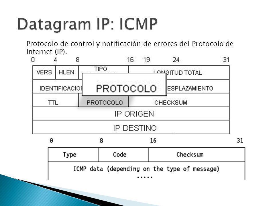 Datagram IP: ICMP Protocolo de control y notificación de errores del Protocolo de Internet (IP).