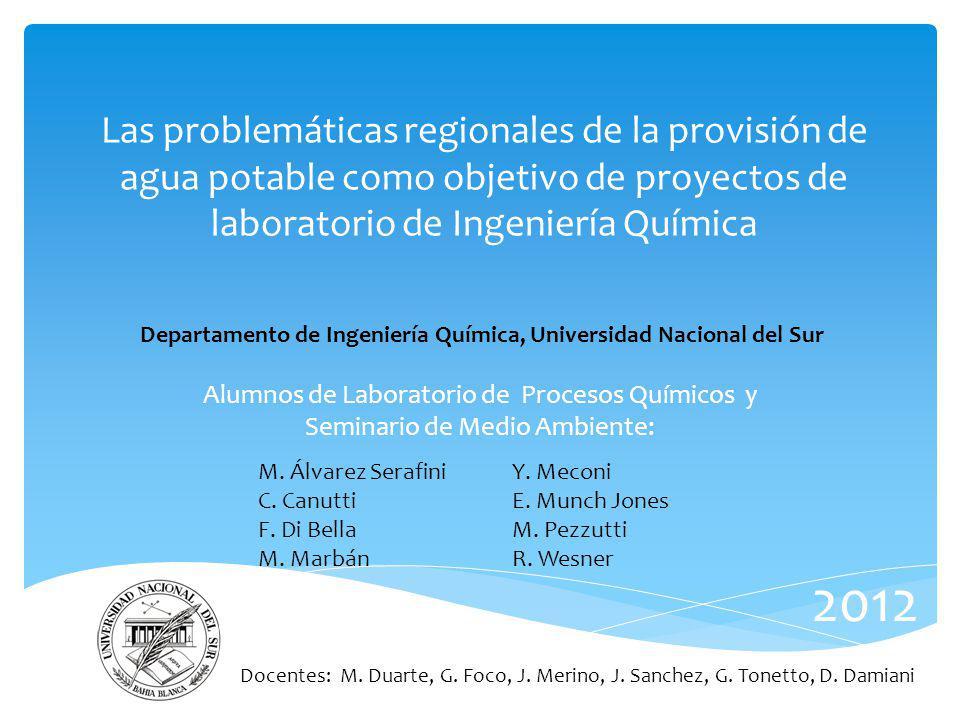 Las problemáticas regionales de la provisión de agua potable como objetivo de proyectos de laboratorio de Ingeniería Química