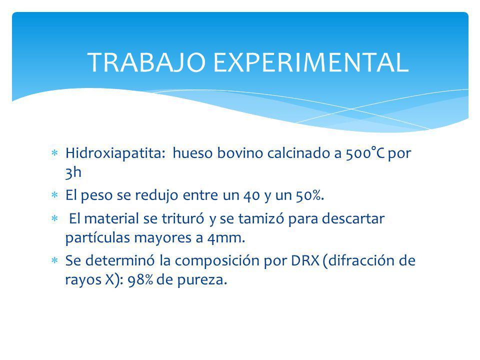 TRABAJO EXPERIMENTAL Hidroxiapatita: hueso bovino calcinado a 500°C por 3h. El peso se redujo entre un 40 y un 50%.
