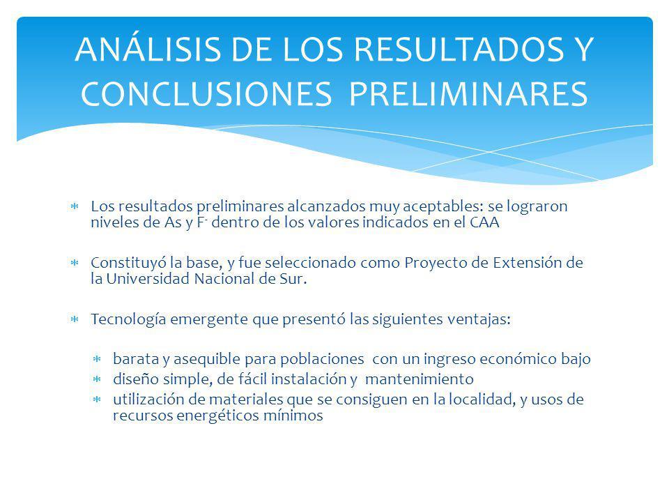 ANÁLISIS DE LOS RESULTADOS Y CONCLUSIONES PRELIMINARES