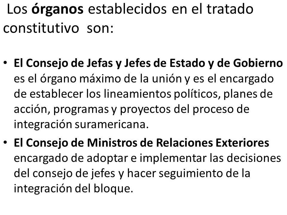 Los órganos establecidos en el tratado constitutivo son: