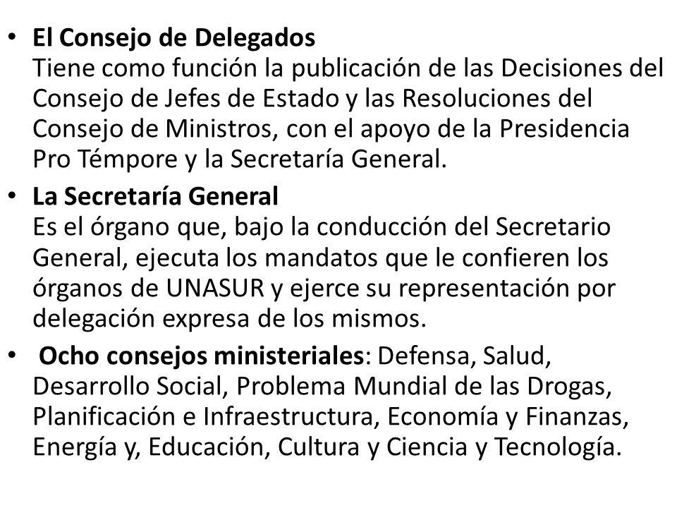 El Consejo de Delegados Tiene como función la publicación de las Decisiones del Consejo de Jefes de Estado y las Resoluciones del Consejo de Ministros, con el apoyo de la Presidencia Pro Témpore y la Secretaría General.
