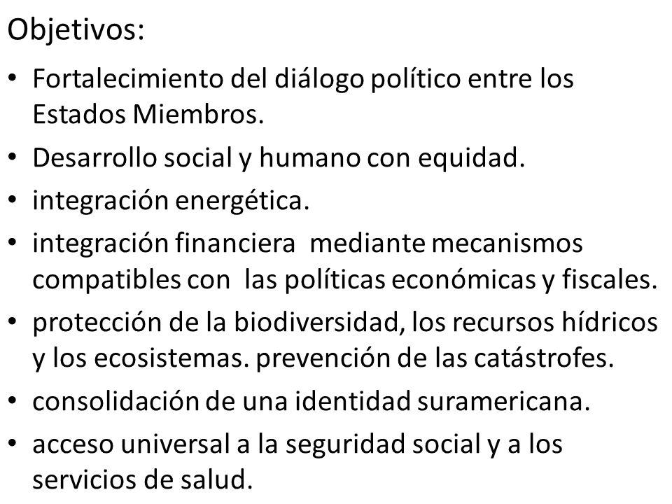 Objetivos: Fortalecimiento del diálogo político entre los Estados Miembros. Desarrollo social y humano con equidad.