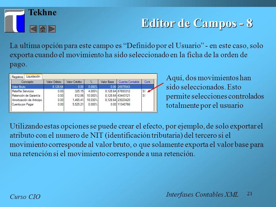 Editor de Campos - 8 Tekhne