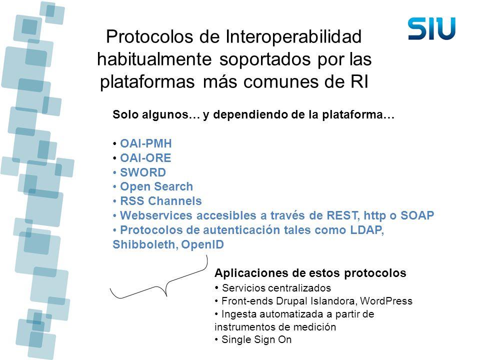 Protocolos de Interoperabilidad habitualmente soportados por las plataformas más comunes de RI