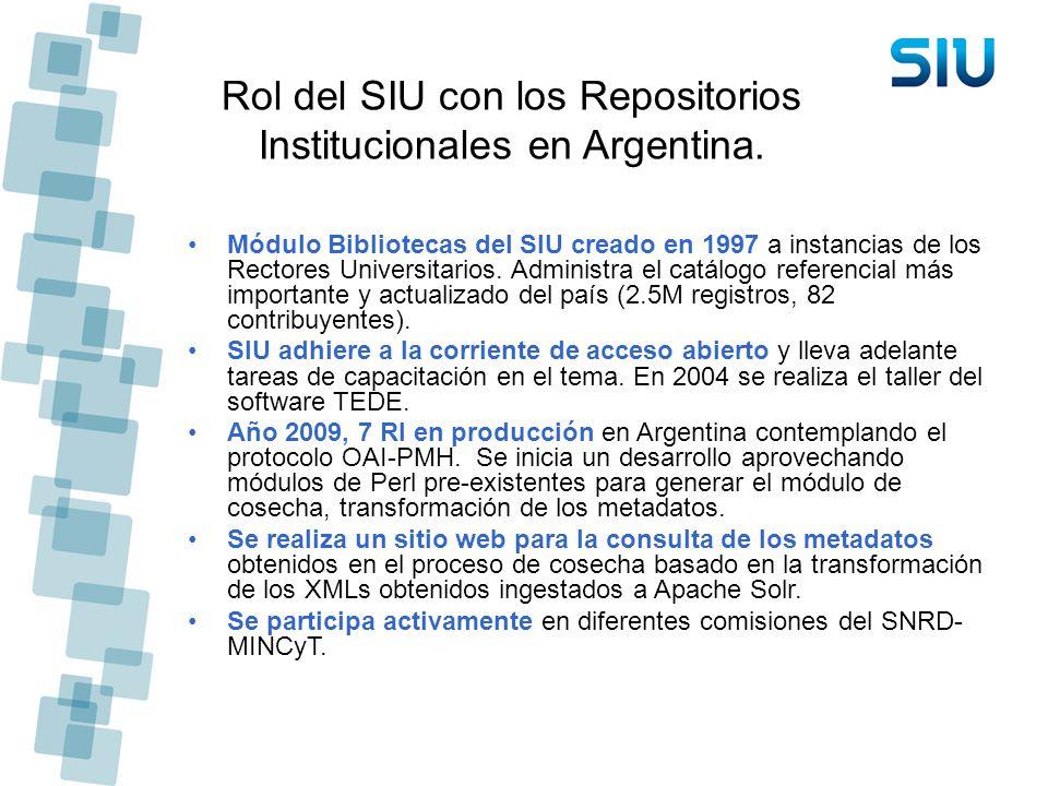 Rol del SIU con los Repositorios Institucionales en Argentina.